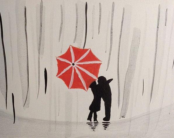 Rain Volley Canopy Couple Twosome Umbrella Kiss Ca