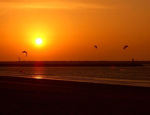 Sunset Sundown Vacation Seashore Travel Kites Beac