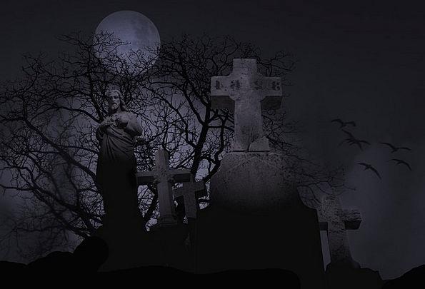 Cemetery Graveyard Spooky Death Symbol Sign Moon G