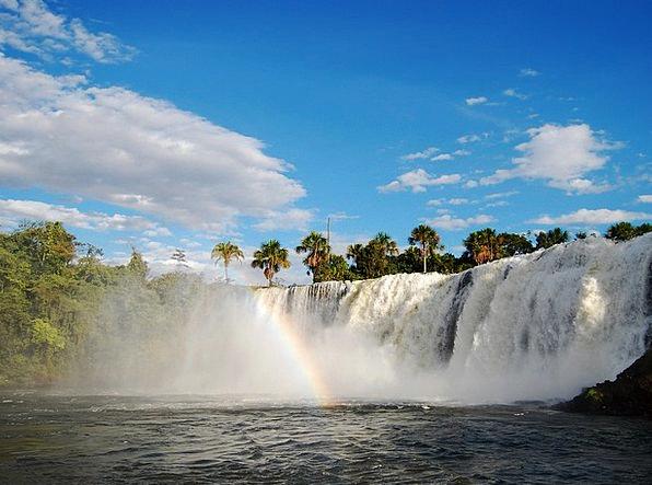 Waterfall Cascade Landscapes Nature Tangará Clouds