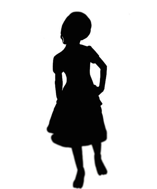 Silhouette Outline Lassies Children Broods Girls Black And