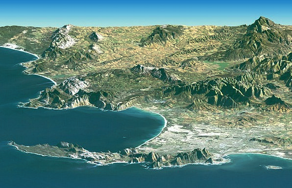 South Africa Srtm Cape Town Bird'S Eye View Aerial