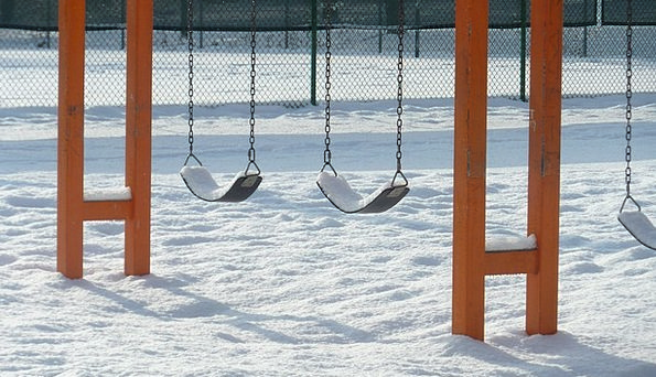 Swings Swipes Park Common Playground Snow Covered