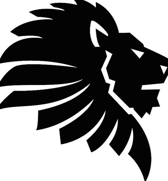 lion head, shock, black, dark, mane, silhouette, outline, angry