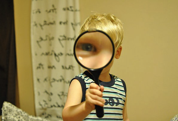Magnifying Glass Youngster Funny Humorous Child