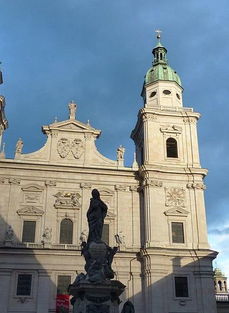 Salzburg Cathedral Frontage Evening Sun Facade Unt