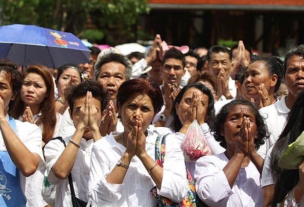 Praying Requesting Thai Buddhists Religion Temple