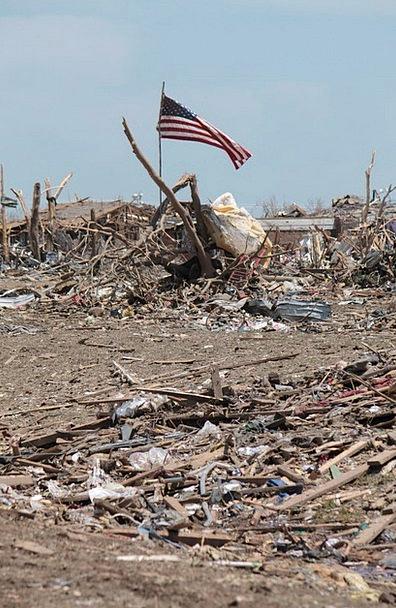 Moore Tornado Cyclone Oklahoma American Flag Disas