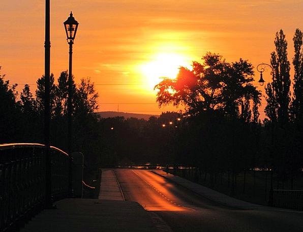 Sunset Sundown Vacation Street Travel Lamps Upligh