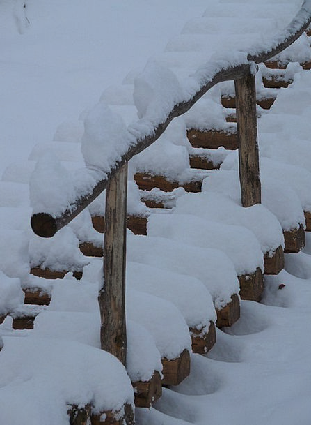 Stairs Staircases Winter Season Wood Stairs Snowy