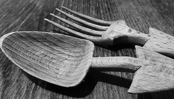Cutlery Flatware Spoon Serve Wooden Cutlery Kitche