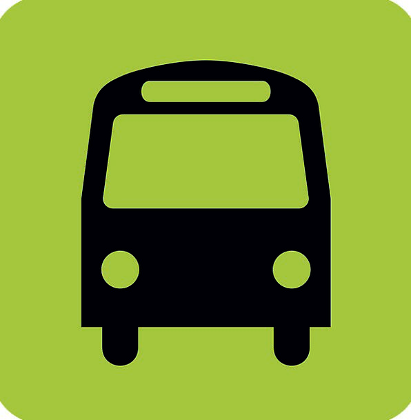 Bus Car Halt Sign Symbol Stop Pictogram Black Gree