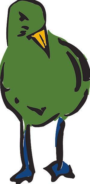 Green Lime Fowl Standing Stand-up Bird Beak Bill F