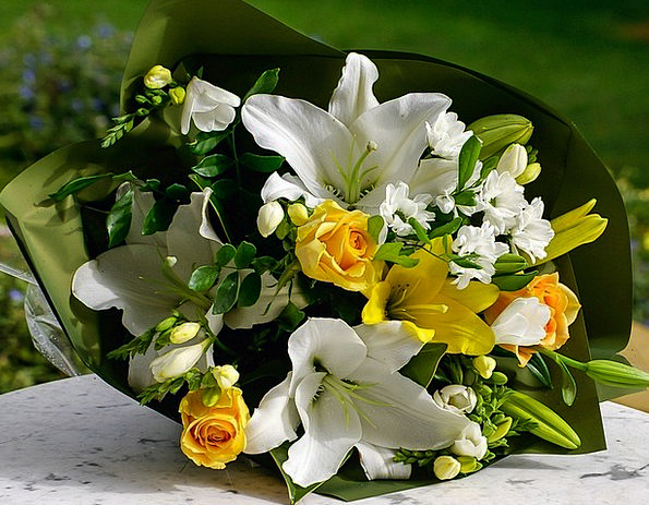 Bouquet Plants Bunch Group Flowers Yellow Creamy F