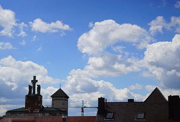 Sky Buildings Azure Architecture Clouds Vapors Blu