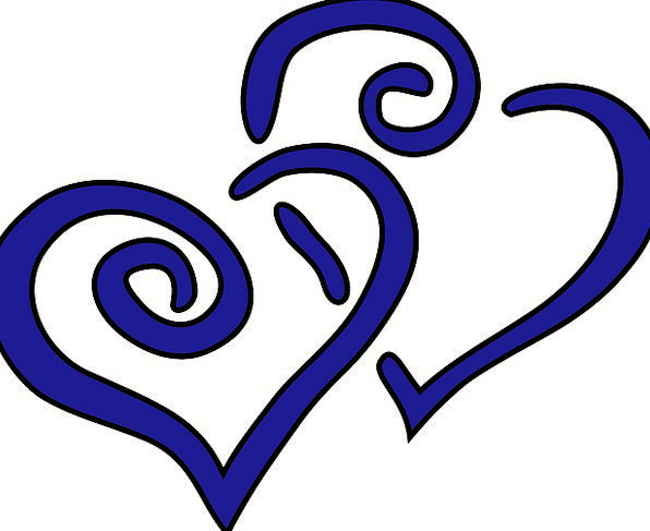 Hearts Emotions Azure Intertwined Tangled Blue Lov