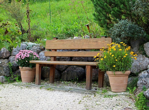 Seat Chair Landscapes Set Nature Wooden Bench Bank