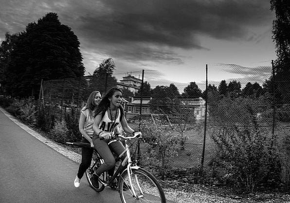 Bike Motorbike Lassie Cloudiness Muddiness Girl Cy