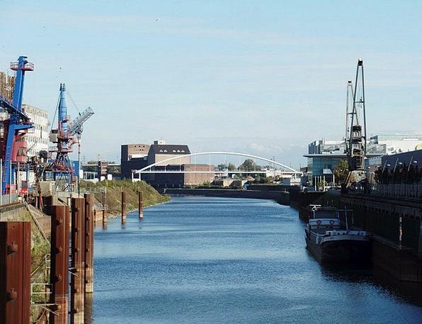 Rhine Buildings Harbor Architecture Neuss Port Bri