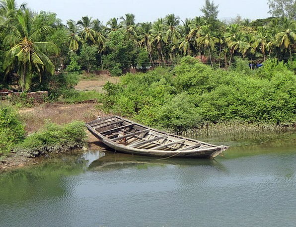 Country Boat Landscapes Nature Coconut Groves Tida