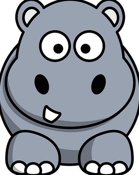 Hippo Cartoon Animation Hippopotamus Round Grey Ol