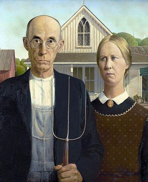 Painting Image Man Gentleman Grant Wood Woman Lady