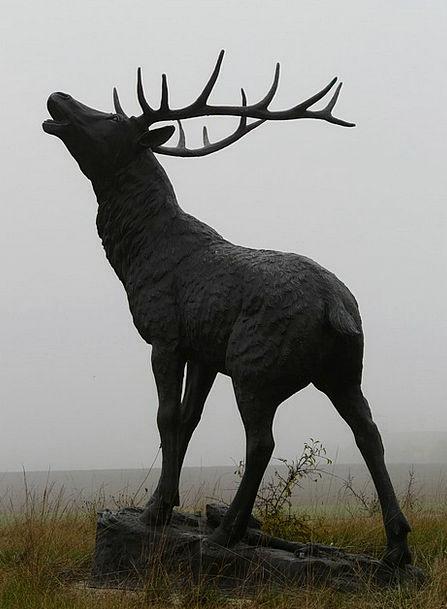 Red Deer Hirsch Bronze Statue Fog Cervidae Antler