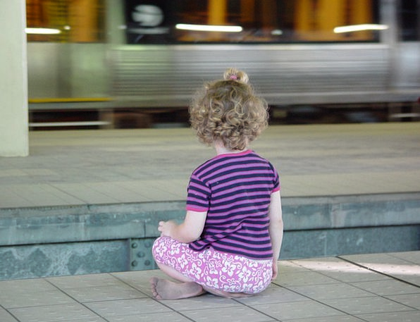Child Youngster Be seated Metro Sit S Bahn Railway