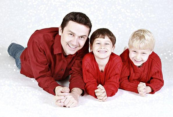 Family Domestic Children Broods Father Portrait Bo