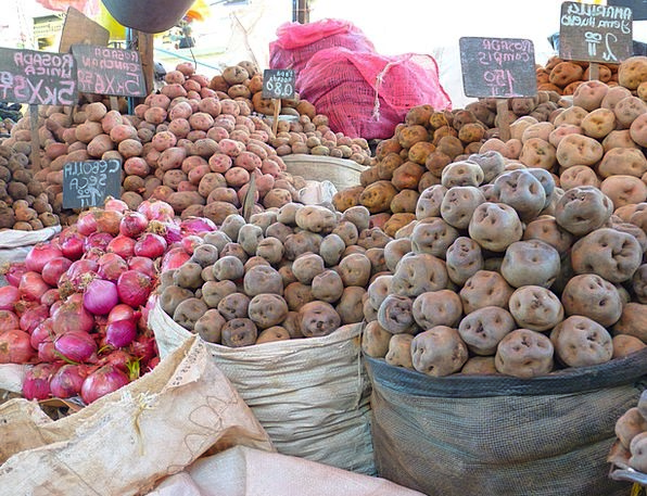 Potatoes Vegetables Market Marketplace Onions Peru