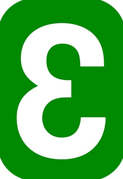 Number Amount Green Lime Three White Snowy Rounded