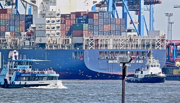 Container Ship Harbor Hamburg Port Elbe Maritime C