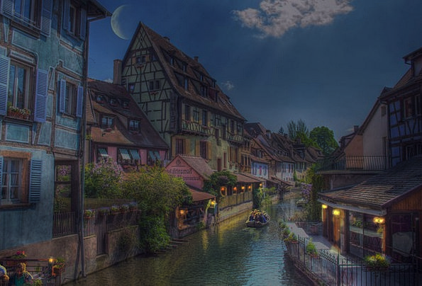 Colmar France Alsace Night Nightly Picturesque Pho
