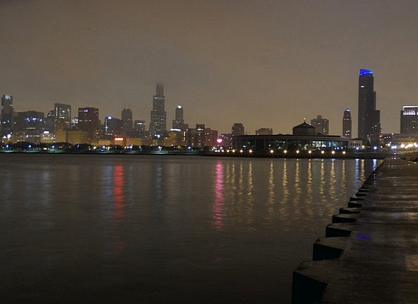 Chicago Nightly Night Image Night Skyline Horizon