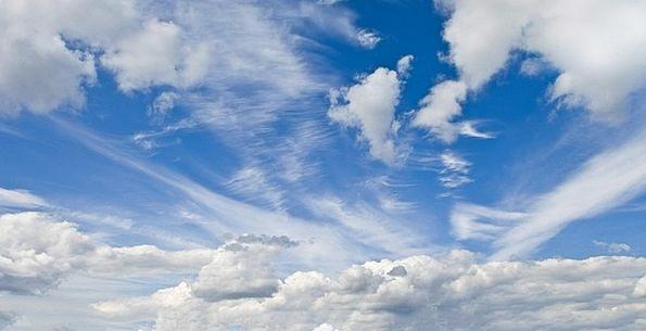 Sky Azure Cloudscape Blue Cloudy Overcast Fluffy B
