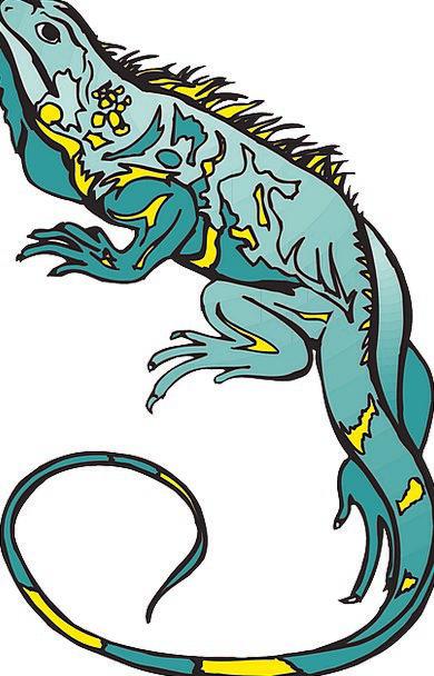 Blue Azure Creamy Colors Insignia Yellow Chameleon