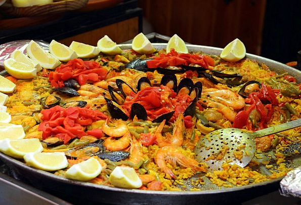 Paella Drink Food Scampi Rice Mussels Lemons Duds
