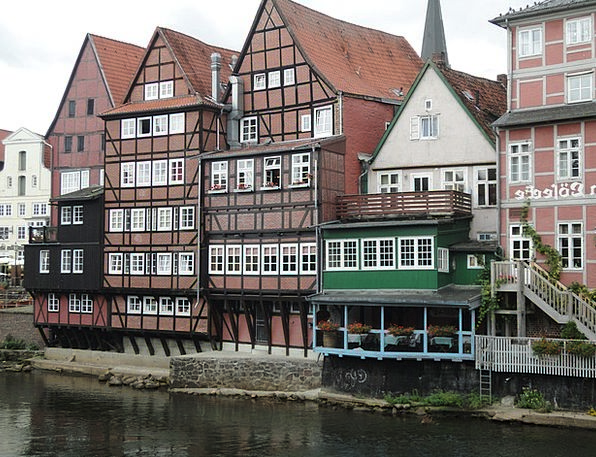 Lüneburg Aquatic Bank Set Water Old Houses Houses