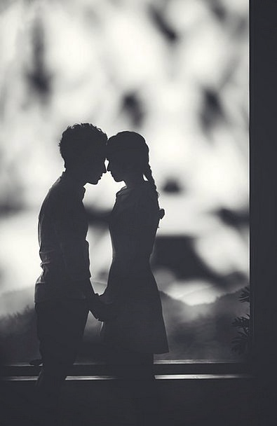Silhouette Outline Twosome Black Dark Couple Girl