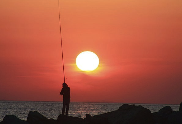 Fisherman Vacation Sundown Travel Fishing Angling