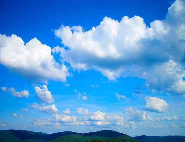 Mountains Crags Clouds Vapors Sky Blue Azure White