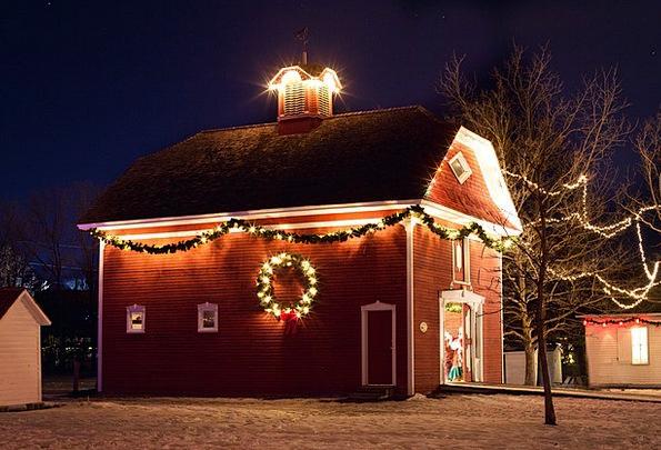 Christmas House Nightly Xmas Lights Night Red Hous