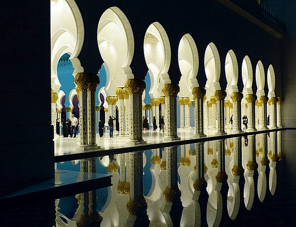 Great Mosque Emirates Countries Abu Dhabi Reflecti