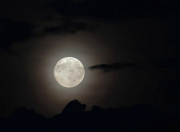 Moon Romanticize Cloud Mist Full Moon Cloudy Sky A