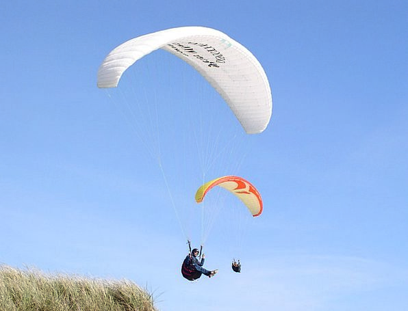 Paraglider Bank Sky Blue Dune North Sea Denmark