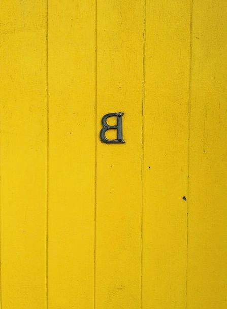 Door Entrance Communication B Letter Yellow Creamy