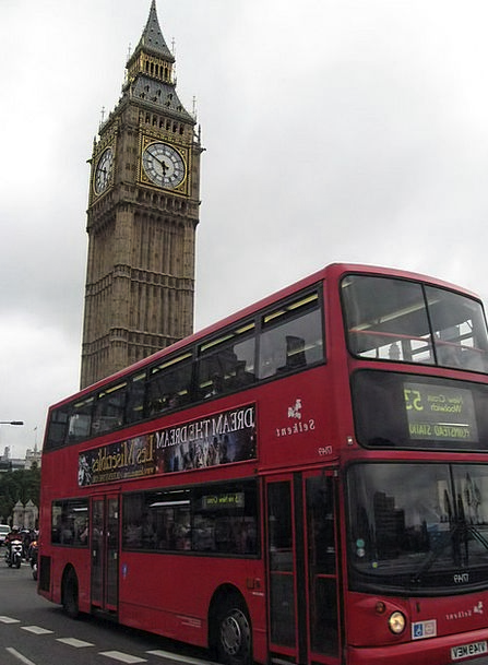 Bus Car Big Ben Two-Storied Belfry Campanile Londo