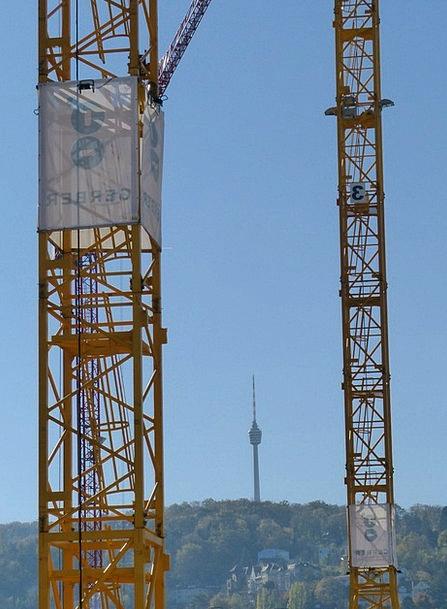 Stuttgart Cranes Hoists Tv Tower Construction Site