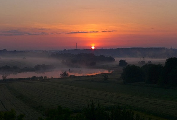 Sunrise Dawn Landscapes Countryside Nature Silesia