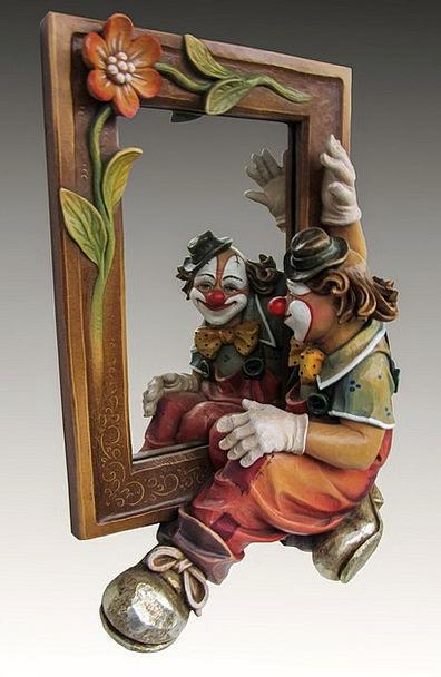 Clown Joker Glass Photo Montage Mirror Image Copy